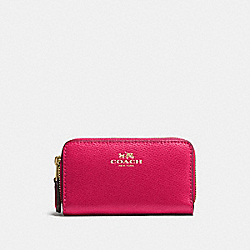 COACH SMALL DOUBLE ZIP COIN CASE IN CROSSGRAIN LEATHER - IMITATION GOLD/BRIGHT PINK - F57855