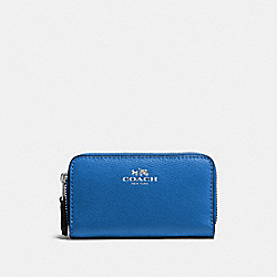 SMALL DOUBLE ZIP COIN CASE IN CROSSGRAIN LEATHER - SILVER/LAPIS - COACH F57855