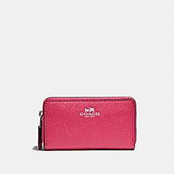 COACH SMALL DOUBLE ZIP COIN CASE - SILVER/MAGENTA - F57855