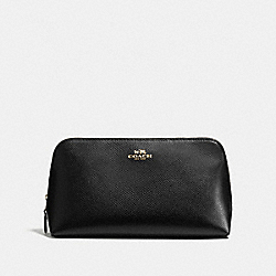 COACH COSMETIC CASE 22 IN CROSSGRAIN LEATHER - IMITATION GOLD/BLACK - F57856