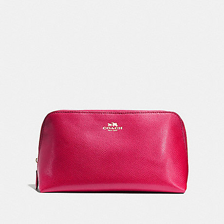 COACH COSMETIC CASE 22 IN CROSSGRAIN LEATHER - IMITATION GOLD/BRIGHT PINK - f57856