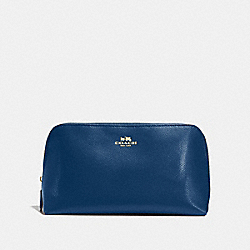 COSMETIC CASE 22 IN CROSSGRAIN LEATHER - f57856 - IMITATION GOLD/MARINA