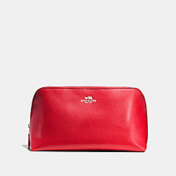 COACH COSMETIC CASE 22 IN CROSSGRAIN LEATHER - SILVER/BRIGHT RED - F57856