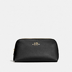 COACH COSMETIC CASE 17 IN CROSSGRAIN LEATHER - IMITATION GOLD/BLACK - F57857