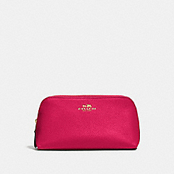 COACH COSMETIC CASE 17 IN CROSSGRAIN LEATHER - IMITATION GOLD/BRIGHT PINK - F57857