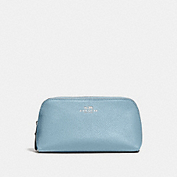 COACH COSMETIC CASE 17 IN CROSSGRAIN LEATHER - SILVER/CORNFLOWER - F57857