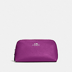 COACH COSMETIC CASE 17 IN CROSSGRAIN LEATHER - SILVER/HYACINTH - F57857