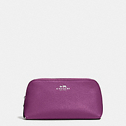 COACH COSMETIC CASE 17 IN CROSSGRAIN LEATHER - SILVER/MAUVE - F57857
