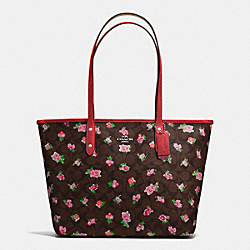 CITY ZIP TOTE IN FLORAL LOGO PRINT COATED CANVAS - SILVER/BROWN RED MULTI - COACH F57888