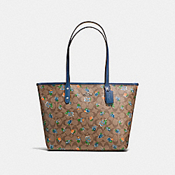 CITY ZIP TOTE IN FLORAL LOGO PRINT COATED CANVAS - f57888 - SILVER/KHAKI BLUE MULTI