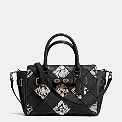 COACH BLAKE CARRYALL 25 IN SNAKE EMBOSSED PATCHWORK LEATHER - ANTIQUE NICKEL/BLACK MULTI - F57892