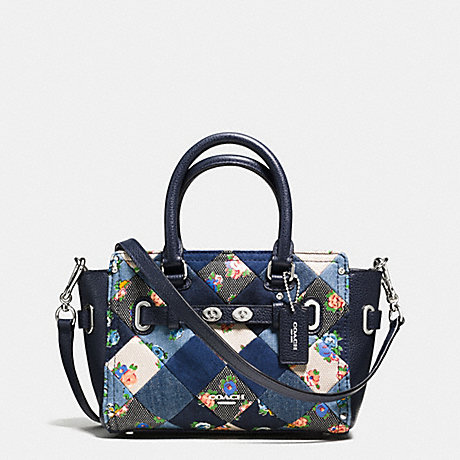 COACH f57898 MINI BLAKE CARRYALL IN DENIM PATCHWORK SILVER/MIDNIGHT MULTI