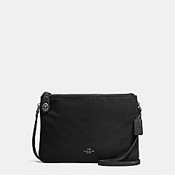 NYLON CROSSBODY - f57899 - ANTIQUE NICKEL/BLACK