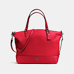 COACH NYLON SATCHEL - ANTIQUE SILVER/TRUE RED - F57902