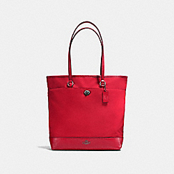 COACH NYLON TOTE - ANTIQUE SILVER/TRUE RED - F57903