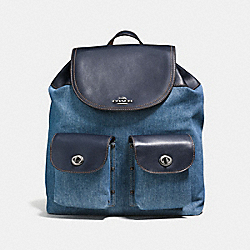 COACH BILLIE BACKPACK IN DENIM AND LEATHER - ANTIQUE SILVER/DENIM - F57905