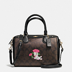 BASEMAN X COACH LOU MINI BENNETT SATCHEL IN SIGNATURE COATED CANVAS - f57906 - IMITATION GOLD/BROWN/BLACK