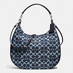 HARLEY HOBO IN SIGNATURE DENIM AND LEATHER - f57912 - SILVER/LIGHT DENIM