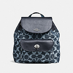 MINI BILLIE BACKPACK IN SIGNATURE DENIM AND LEATHER - f57913 - SILVER/LIGHT DENIM