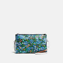 LYLA CROSSBODY IN ROSE MEADOW FLORAL PRINT COATED CANVAS - F57922 - SILVER/BLUE MULTI