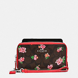 COACH DOUBLE ZIP PHONE WALLET IN FLORAL LOGO PRINT - SILVER/BROWN RED MULTI - F57959