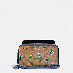 COACH DOUBLE ZIP PHONE WALLET IN FLORAL LOGO PRINT - SILVER/KHAKI BLUE MULTI - F57959