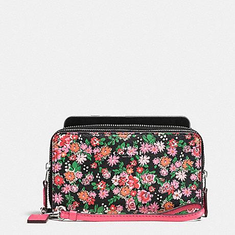 Coach f57961 double zip phone wallet in posey cluster floral print coach f57961 double zip phone wallet in posey cluster floral print silver pink multi mightylinksfo