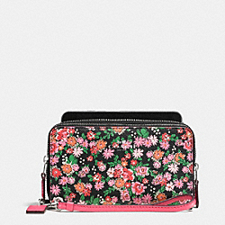 COACH DOUBLE ZIP PHONE WALLET IN POSEY CLUSTER FLORAL PRINT - SILVER/PINK MULTI - F57961