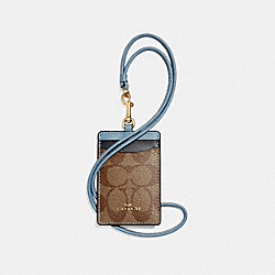 ID LANYARD IN COLORBLOCK SIGNATURE CANVAS - KHAKI/MIDNIGHT POOL/LIGHT GOLD - COACH F57964