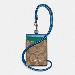 ID LANYARD IN COLORBLOCK SIGNATURE COATED CANVAS - SILVER/KHAKI - COACH F57964