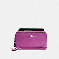 COACH DOUBLE ZIP PHONE WALLET IN ROSE MEADOW FLORAL PRINT - SILVER/HYACINTH MULTI - F57969
