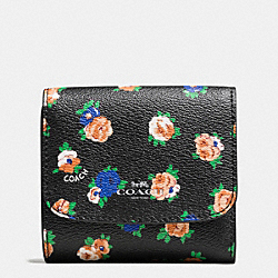 COACH SMALL WALLET IN TEA ROSE FLORAL PRINT COATED CANVAS - SILVER/BLACK MULTI - F57976