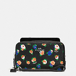 COACH DOUBLE ZIP PHONE WALLET IN TEA ROSE FLORAL PRINT - SILVER/BLACK MULTI - F57977