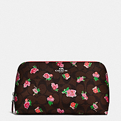 COACH COSMETIC CASE 22 IN FLORAL LOGO PRINT - SILVER/BROWN RED MULTI - F57980