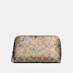 COACH COSMETIC CASE 22 IN FLORAL LOGO PRINT - SILVER/KHAKI BLUE MULTI - F57980