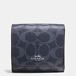 COACH SMALL WALLET IN DENIM SIGNATURE - SILVER/DENIM - F57982