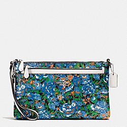 COACH WRISTLET WITH POP OUT POUCH IN ROSE MEADOW FLORAL PRINT - SILVER/BLUE MULTI - F57987