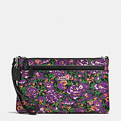 COACH WRISTLET WITH POP OUT POUCH IN ROSE MEADOW FLORAL PRINT - SILVER/VIOLET MULTI - F57987