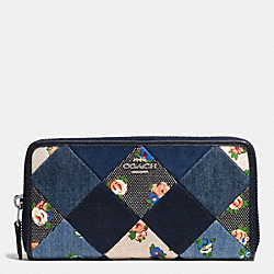 COACH ACCORDION ZIP WALLET IN DENIM PATCHWORK - SILVER/MIDNIGHT MULTI - F57993