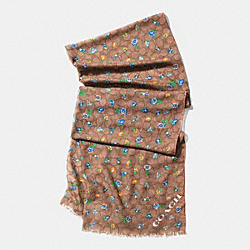 FLORAL PRINTED SIGNATURE C OBLONG SCARF - F58006 - KHAKI BLUE MULTICOLOR