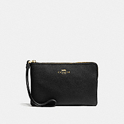 COACH CORNER ZIP WRISTLET IN CROSSGRAIN LEATHER - IMITATION GOLD/BLACK - F58032