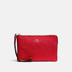 COACH CORNER ZIP WRISTLET IN CROSSGRAIN LEATHER - IMITATION GOLD/TRUE RED - F58032