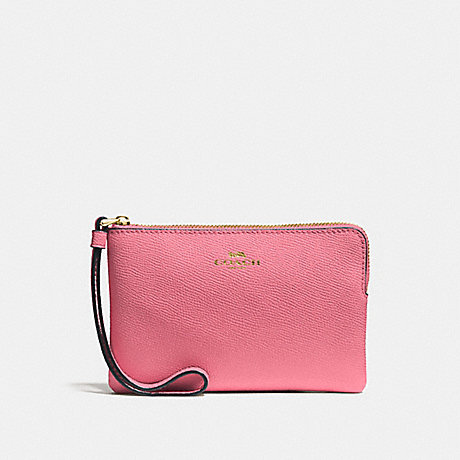 COACH CORNER ZIP WRISTLET - STRAWBERRY/IMITATION GOLD - F58032