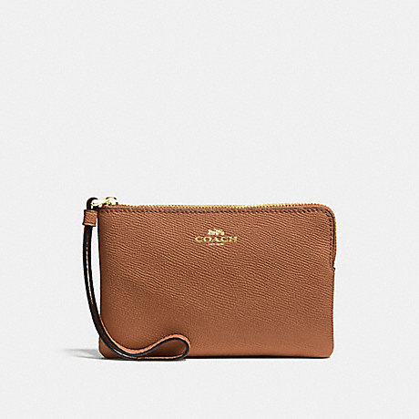 COACH CORNER ZIP WRISTLET - LIGHT SADDLE/LIGHT GOLD - F58032