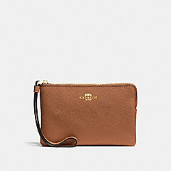 COACH CORNER ZIP WRISTLET - LIGHT SADDLE/IMITATION GOLD - F58032