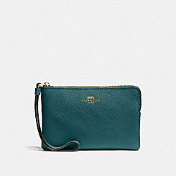 CORNER ZIP WRISTLET - DARK TURQUOISE/LIGHT GOLD - COACH F58032