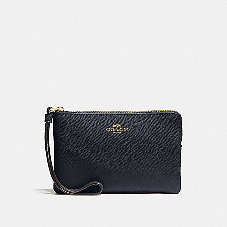 COACH CORNER ZIP WRISTLET - MIDNIGHT/LIGHT GOLD - F58032
