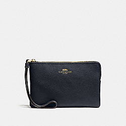 COACH CORNER ZIP WRISTLET IN CROSSGRAIN LEATHER - IMITATION GOLD/MIDNIGHT - F58032