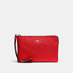 COACH CORNER ZIP WRISTLET IN CROSSGRAIN LEATHER - SILVER/BRIGHT RED - F58032