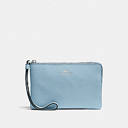 COACH CORNER ZIP WRISTLET IN CROSSGRAIN LEATHER - SILVER/CORNFLOWER - F58032
